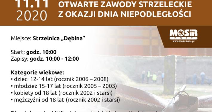 Plakat informujący o Otwartych Zawodach Strzeleckich z okazji Dnia Niepodległości