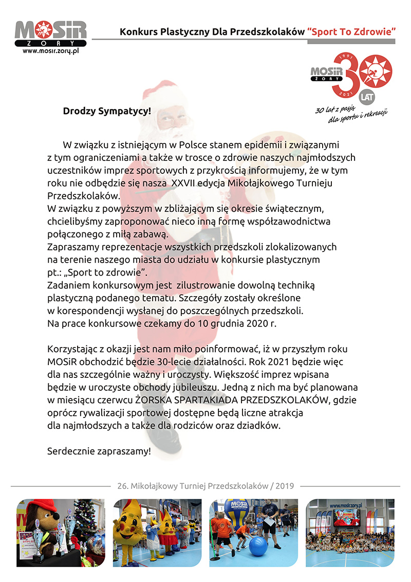 Grafika prezentująca list otwarty w sprawie organizacji imprezy, w tle święty mikołaj z paletą, w stopce zdjęcia z poprzednich edycji