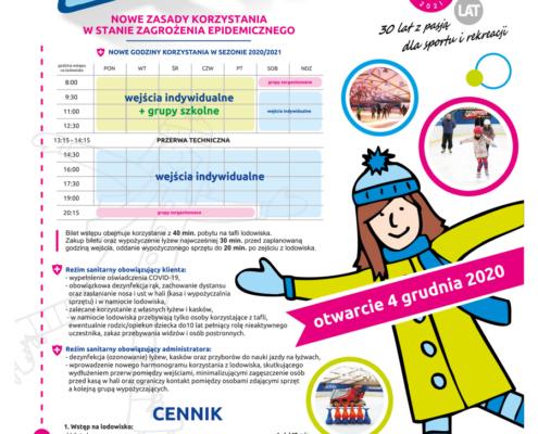Na zdjęciu kolorowy plakat ze szczegółami wstępu na lodowisko, z boku ilustracja dziewczynki na łyżwach i kilka zdjęć z lodowiska