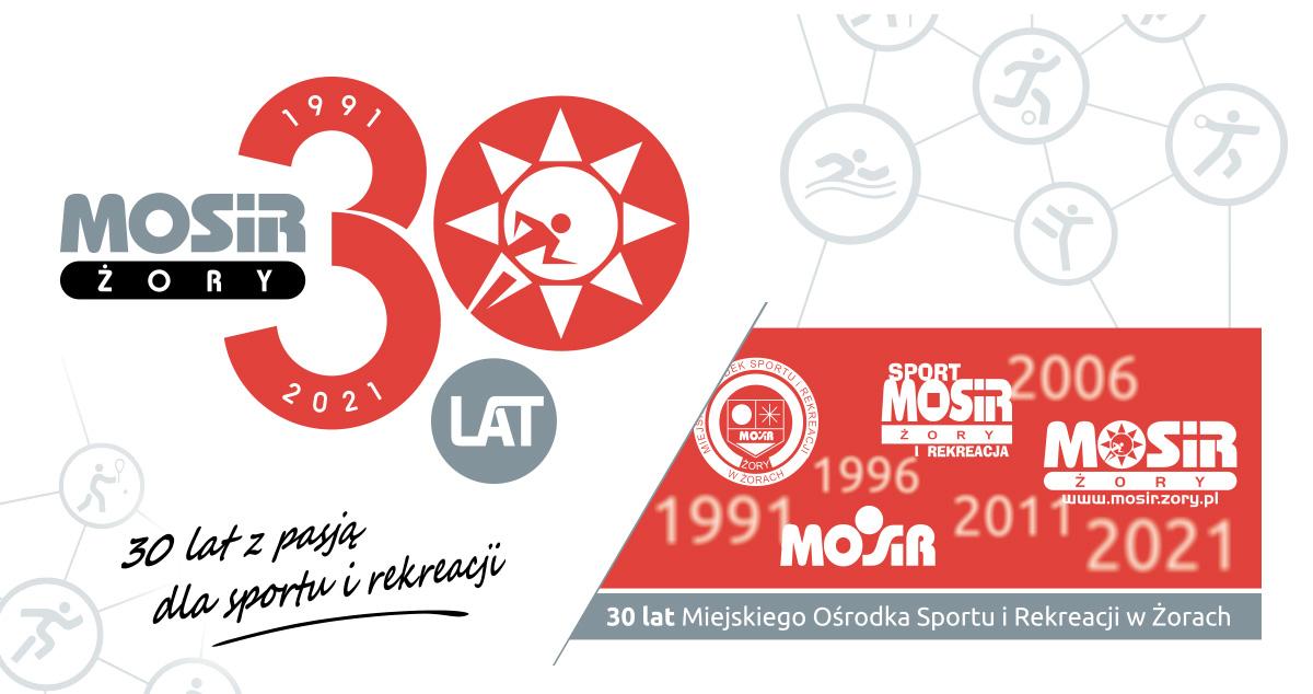 Na zdjęciu czerwone logo jubileuszowe wraz z zestawieniem historycznych logotypów MOSiR