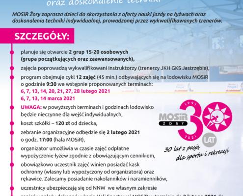 Na plakacie szczegóły dotyczące szkółki łyżwiarskiej na tle niebieskiego lodowiska, na górze ilustracja dziewczynki na łyżwach