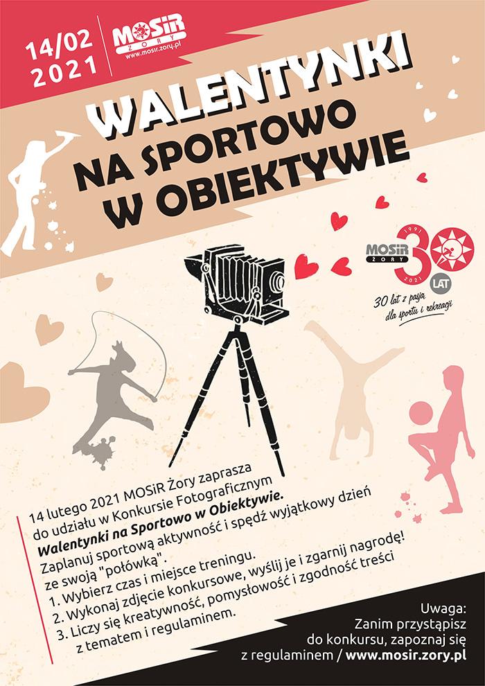 Na plakacie opis zasad konkursu, w tle kolorowe postacie sportowe a na środku stary aparat na statywie