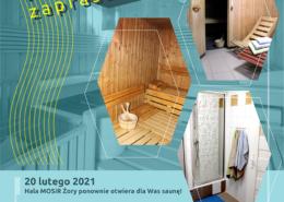 Na plakacie opis oferty wynajmu sauny, w tle zdjęcia obiektu sauny fińskiej