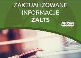 Na grafice napis informujący o zaktualizowanych informacjach ŻALTS i zdjęcie rakietki, piłeczki i stołu do tenisa