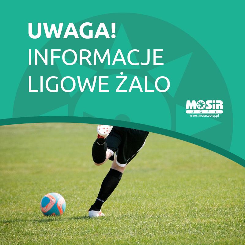 Grafika prezentująca zdjęcie piłkarza na murawie i napis o informacjach ligowych Żorskiej Amatorskiej Ligii Orlika
