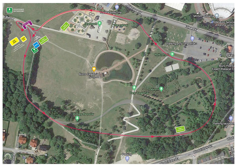 Mapa prezentująca trasę Biegu po Zdrowie