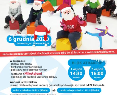 Plakat zapowiadający mikołajkową zabawę z MOSiR-em, na zdjęciu grupa dzieci bawiąca się na lodzie