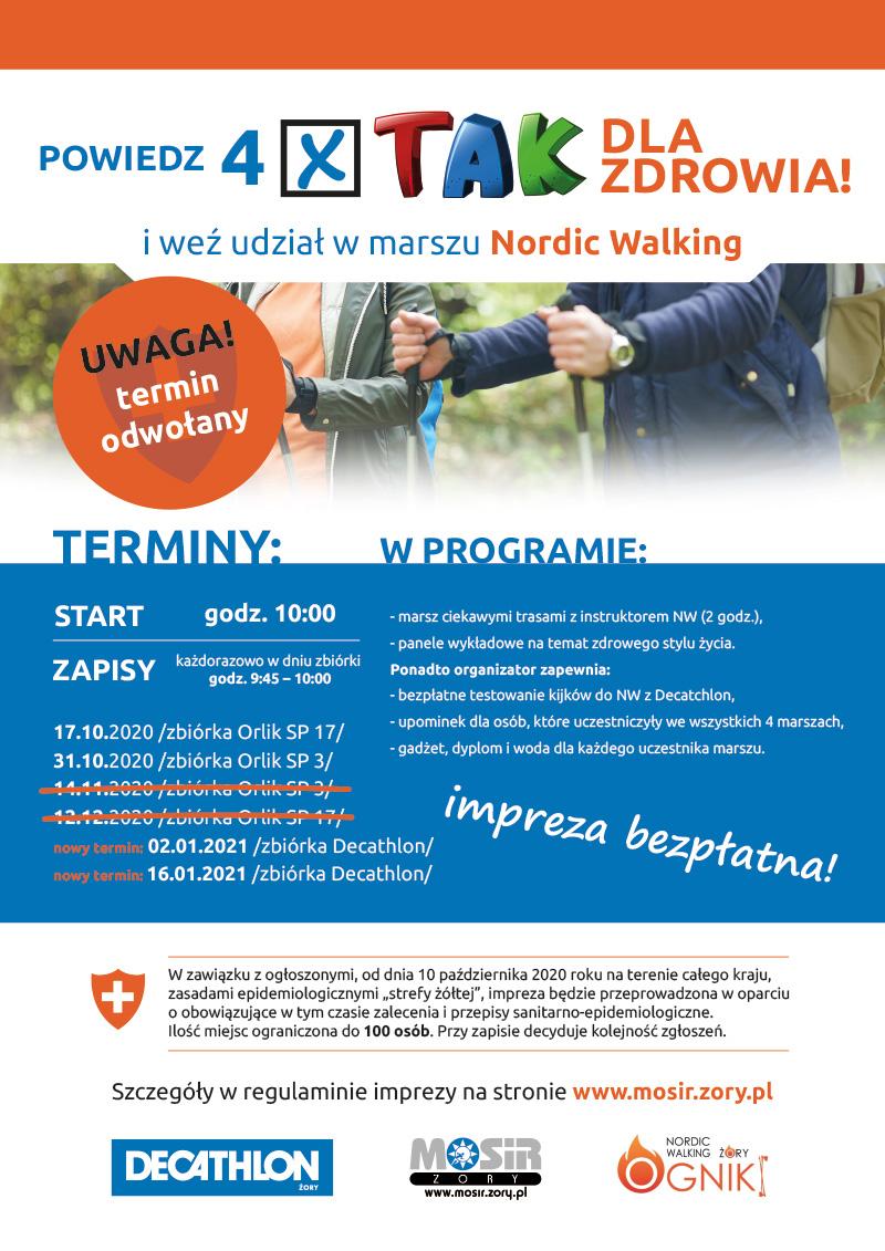 Plakat wydarzenia - wymarszów Nordic Walking