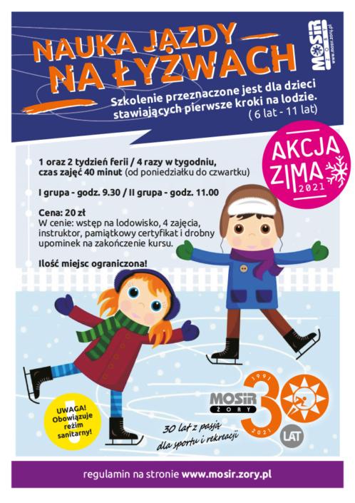 Plakat informujący o szkółce łyżwiarskiej, na ilustracji dwoje dzieci jeżdżących na lodzie