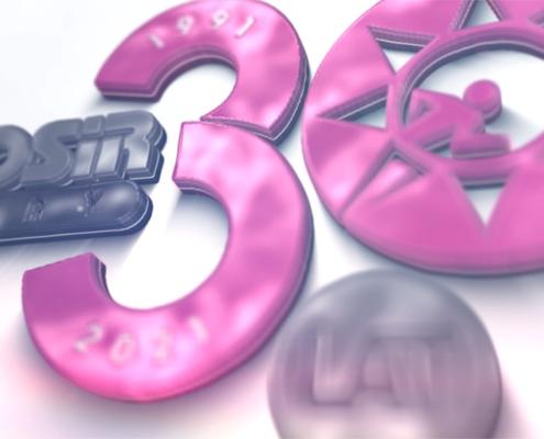 Na zdjęciu logo jubileuszowe MOSiR w 3D na białym tle