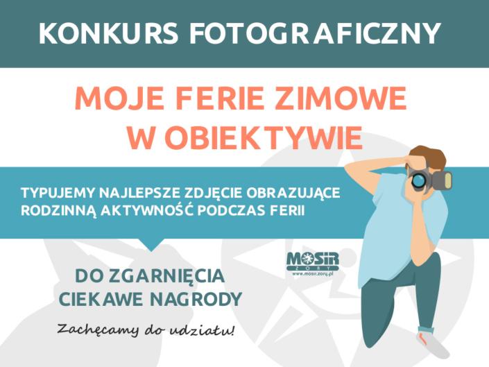 Na zdjęciu informacja o konkursie fotograficznym i ilustracja klęczącego fotografaNa zdjęciu informacja o konkursie fotograficznym i ilustracja klęczącego fotografa