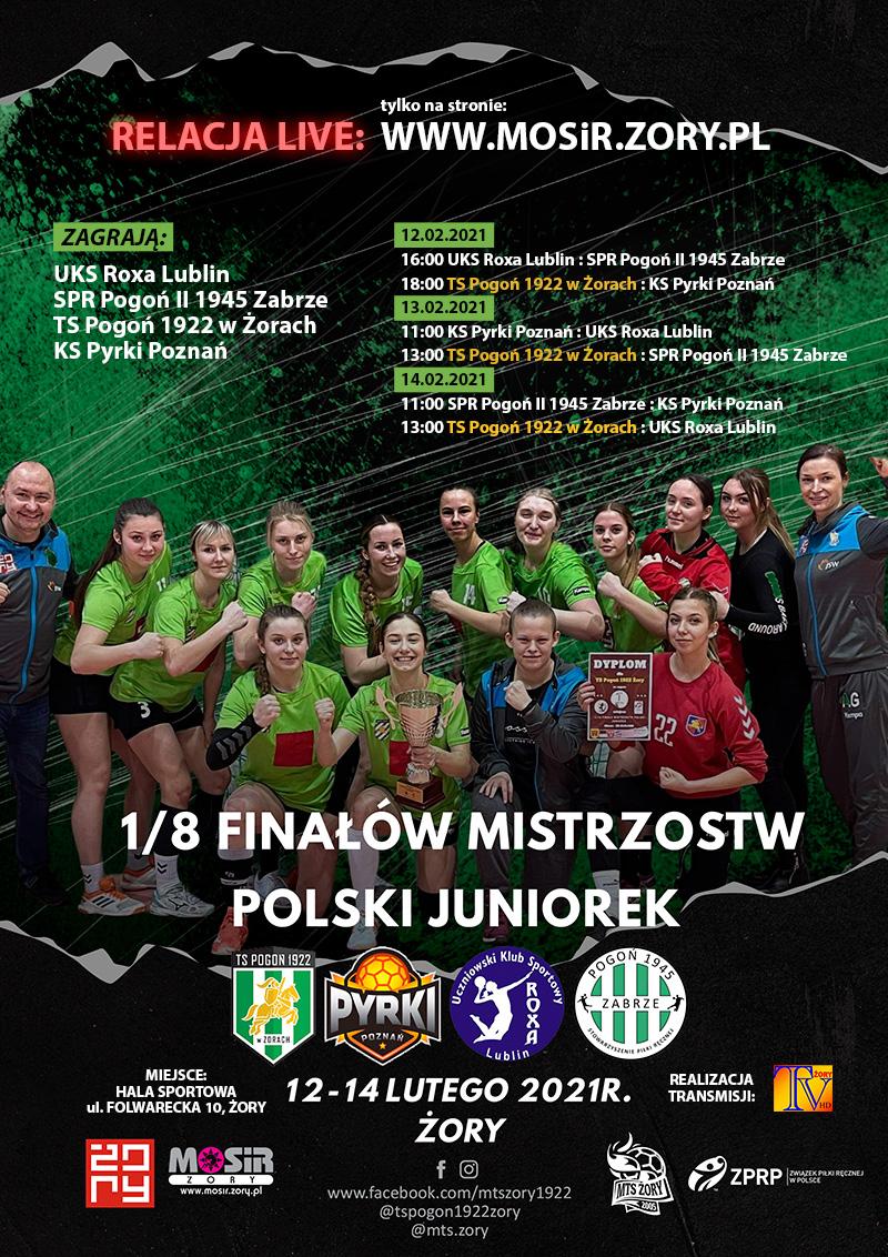 Na plakacie informacje dotyczące rozgrywek, w tle żorska drużyna piłki ręcznej ustawiona w grupie z trenerami na zielono-czarnym tle
