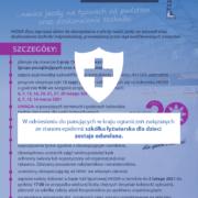 Na plakacie biała tarcza z krzyżem i informacja o odwołaniu szkółki łyżwiarskiej dla dzieci.