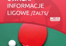 Na grafice napis dotyczący informacji ligowych na czerwonym tle, u dołu zdjęcie rakietki i piłeczki tenisowej