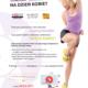 Na plakacie informacje dotyczące treningu zumby online, w tle zdjęcie wysportowanej, ćwiczącej kobiety w stroju sportowym na białym tle.