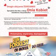 Na plakacie informacje dotyczące akcji, u dołu kolorowy baner Run Forrest, w tle grafika gór i biegacza, u góry ilustracja biegających ludzi i logo 30-lecia MOSiR
