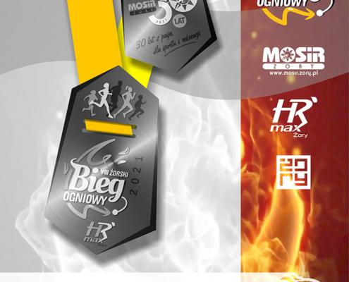 Na grafice projekt sześciokątnego srebrnego medalu z logo biegu i jubileuszu MOSiR na żółtej wstążce, dookoła logotypy partnerów i organizatorów