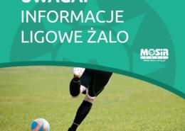 Na grafice tekst o informacjach ligowych, u dołu zdjęcie piłkarza na murawie