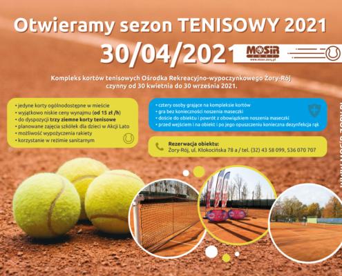 Na grafice informacje dotyczące otwarcia kortów tenisowych, w tle zdjęcie kortu z trzema piłeczkami do tenisa, u dołu trzy zdjęcia z widokiem na obiekt.