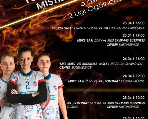 Na plakacie informacje dotyczące mistrzostw, w rogu zdjęcie trzech zawodniczek na pomarańczowo-czarnym tle