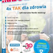 Na plakacie informacje dotyczące wydarzenia, w tle zdjęcie dwóch starszych osób z kijkami nordic walking
