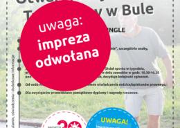 Na plakacie informacje dotyczące turnieju gry w bule, w tle zdjęcie gracza na boisku rzucającego kulą