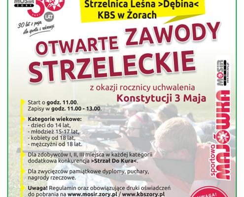 Na plakacie informacje dotyczące organizacji zawodów strzeleckich, w tle zdjęcie zawodników na strzelnicy
