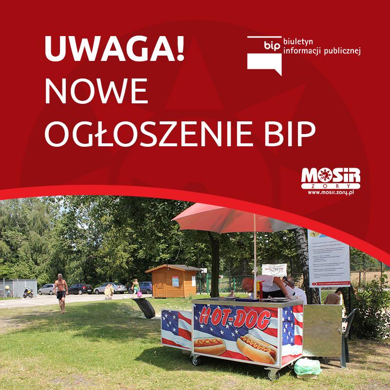 Na grafice informacja o nowym ogłoszeniu BIP, w tle zdjęcie budki gastronomicznej na trawie ośrodka w Żorach-Roju