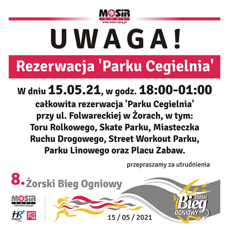 Na grafice informacja o rezerwacji parki cegielnia, u dołu logotypy sponsorów i postać ogniowego biegacza