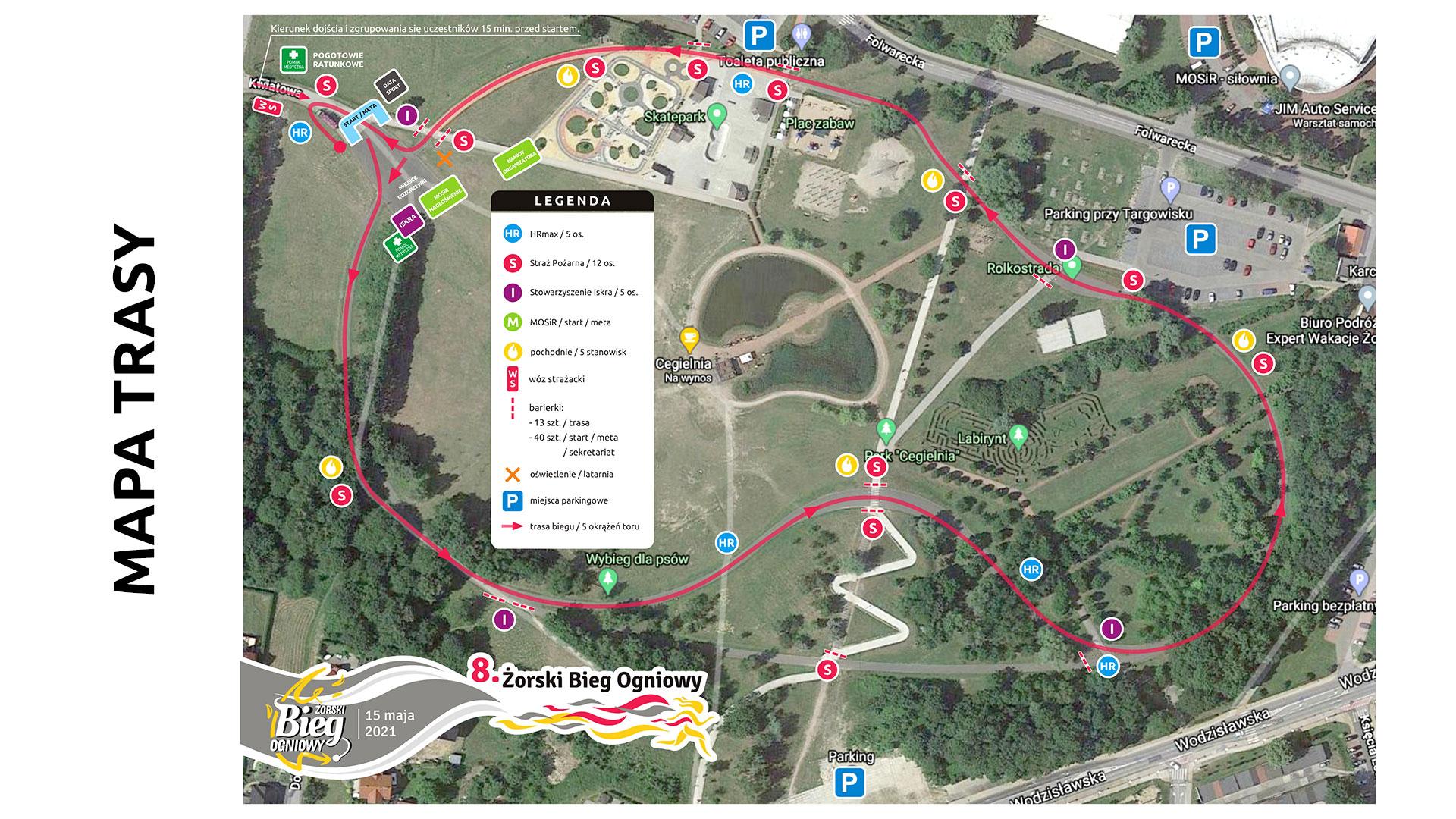 Na grafice mapa Parku Cegielnia w Żorach z zaznaczoną trasą biegu ogniowego i punktami organizacyjnymi