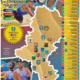 Na plakacie informacje o rozgrywkach turnieju siatkówki plażowej, w tle zdjęcia graczy na boisku do siatkówki, na środku mapa z herbami miast