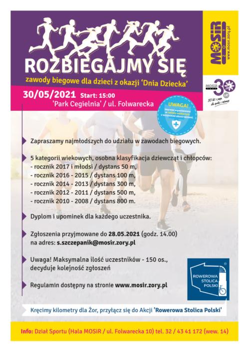 Na plakacie informacja dotycząca imprezy, w tle grupa biegaczy w terenie, u góry logo organizatora i sylwetki biegaczy
