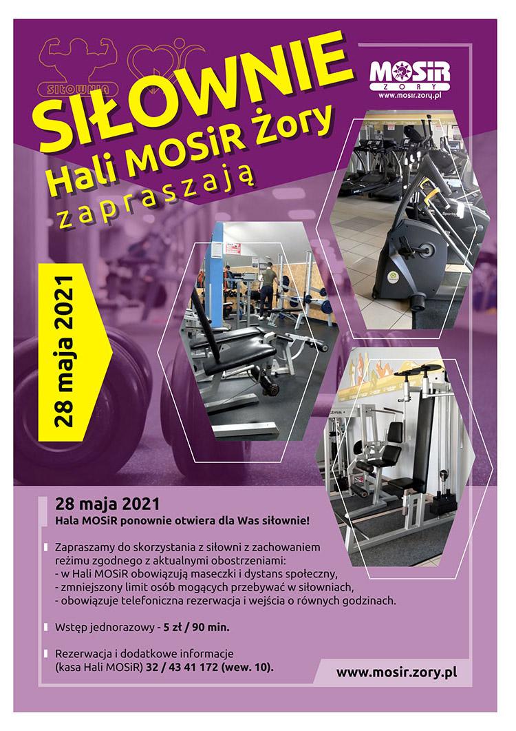 Na grafice informacje o otwarciu siłowni na fioletowym tle, z boku małe zdjęcia obiektu