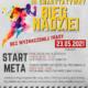 Na plakacie informacje o biegu charytatywnym na szarym tle, z boku kolorowa postać biegacza, u dołu logotypy partnerów i sponsorów