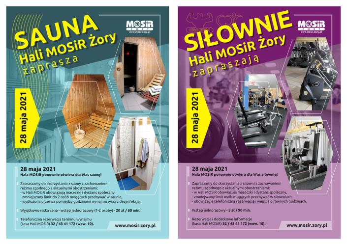 Na grafice informacje o otwarciu sauny i siłowni na seledynowym i fioletowym tle, z boku małe zdjęcia obiektów