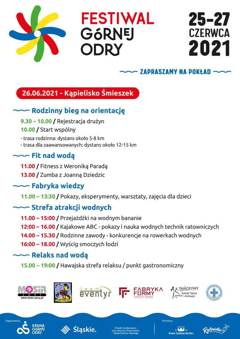 Na plakacie informacje opisujące Festiwal Górnej Odry na białym tle