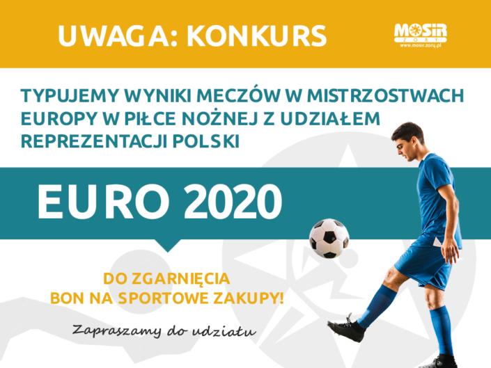 Na grafice tekst o konkursie typowania wyników meczy na niebiesko-żółtym tle, z boku sylwetka piłkarza