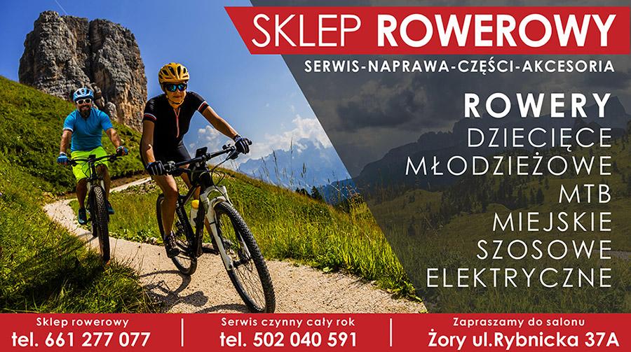 Na zdjęciu informacje o ofercie i kontakcie sklepu rowerowego, w tle dwoje rowerzystów zjeżdżających z górskiej ścieżki