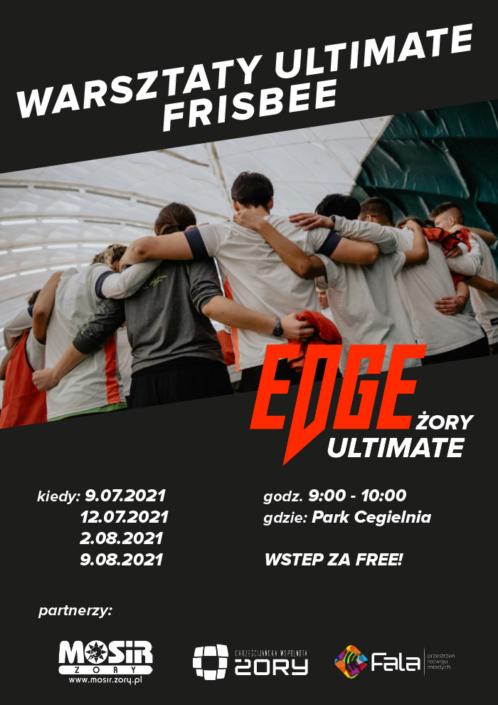 Na plakacie informacje o warsztatach frisbee na czarnym tle, w środku zdjęcie grupy ludzi stojących w okręgu plecami