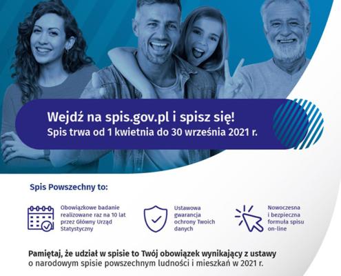 Na plakacie informacje o narodowym spisie powszechnym na białym tle, u góry zdjęcie uśmiechniętych ludzi
