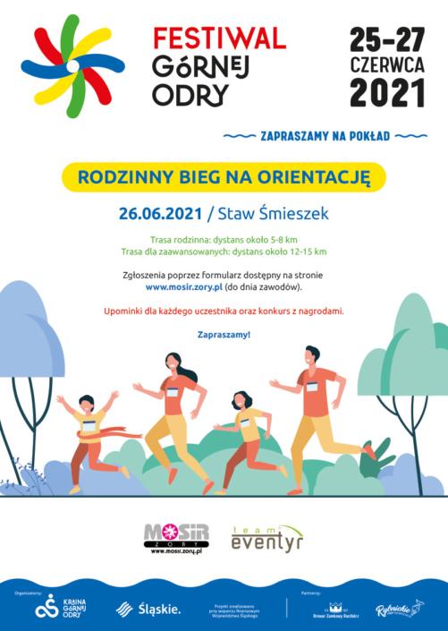Na plakacie informacje opisujące Festiwal Górnej Odry na białym tle, u dołu ilustracja biegnącej rodziny w lesie