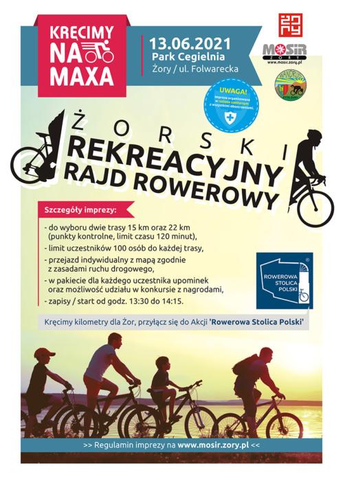 Na plakacie informacja o rajdzie rowerowym, w tle zdjęcie kolarzy jadących w kierunku zachodzącego słońca
