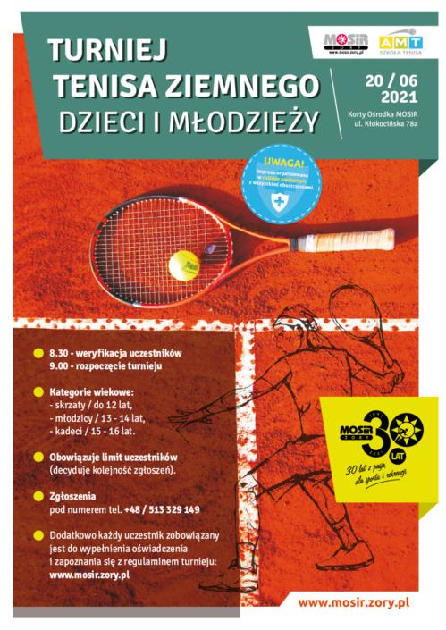 Na plakacie informacje dotyczące turnieju tenisa, w tle zdjęcie kortu tenisowego i leżącej rakiety oraz sylwetka gracza