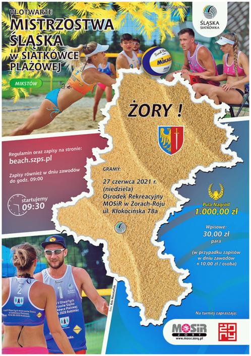 Na plakacie informacje o turnieju siatkówki plażowej, w tle zdjęcia zawodników na boisku zewnętrznym, kolaż zdjęciowy i kontury regionu