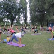 Na zdjęciu zajęcia z jogi na trawie, ćwiczący na matach