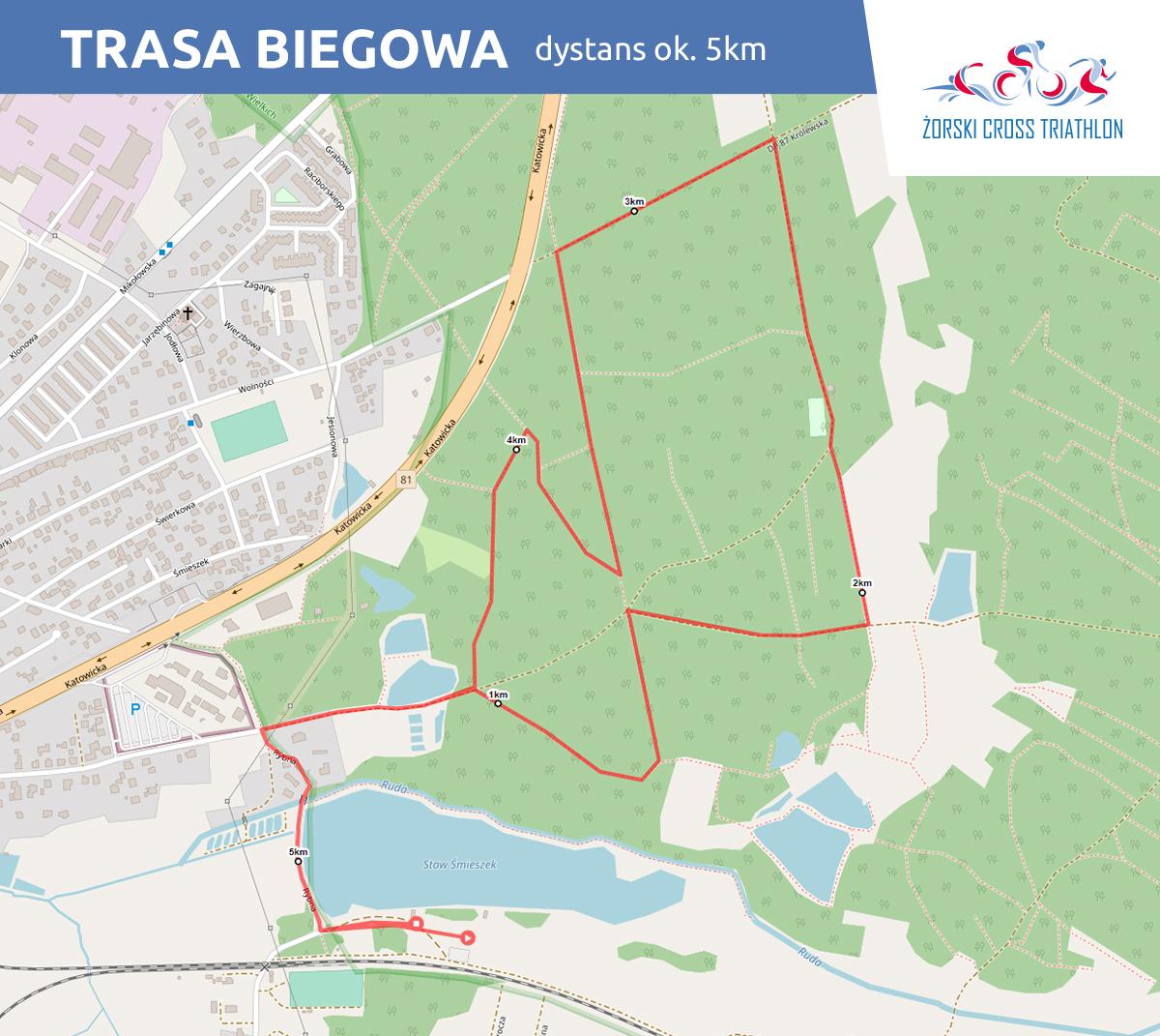 Grafika przedstawia mapę trasy biegowej