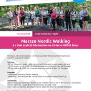 Na plakacie zapowiedź marszów nordic walking, u góry logo Akcji Lato 2021, w środku zdjęcie przedstawiające grupę spacerowiczów z kijkami na trawie