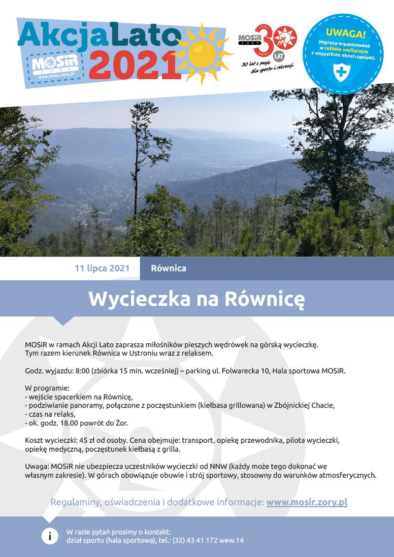 Na plakacie zapowiedź wyjazdu na Równicę, u góry logo Akcji Lato 2021, w środku zdjęcie przedstawiające widok z trasy w górach