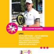 Na grafice na żółtym tle zdjęcie pana Sławomira Tagowskiego i tekst opisujący temat wywiadu