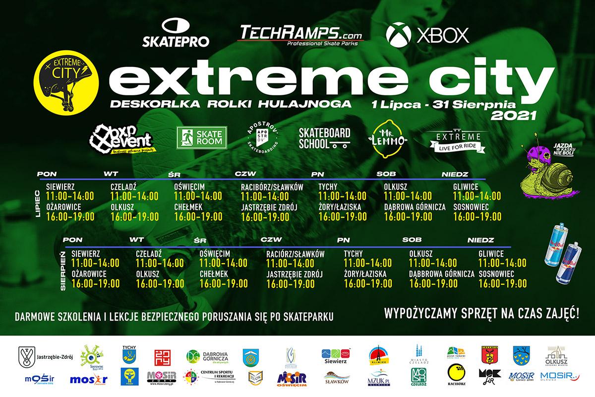 Na plakacie na zielonym tle informacje dotyczące organizacji warsztatów Extreme City, u dołu logotypy